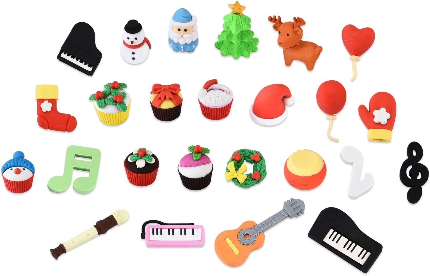 Joanna Reid Collectible Set of Adorable Puzzle Christmas Erasers for Kids Value Pack - No Duplicates - Puzzle Toys Best for Party Favors-Treasure Box Items for Classroom- Xmas Gift(25PCs)