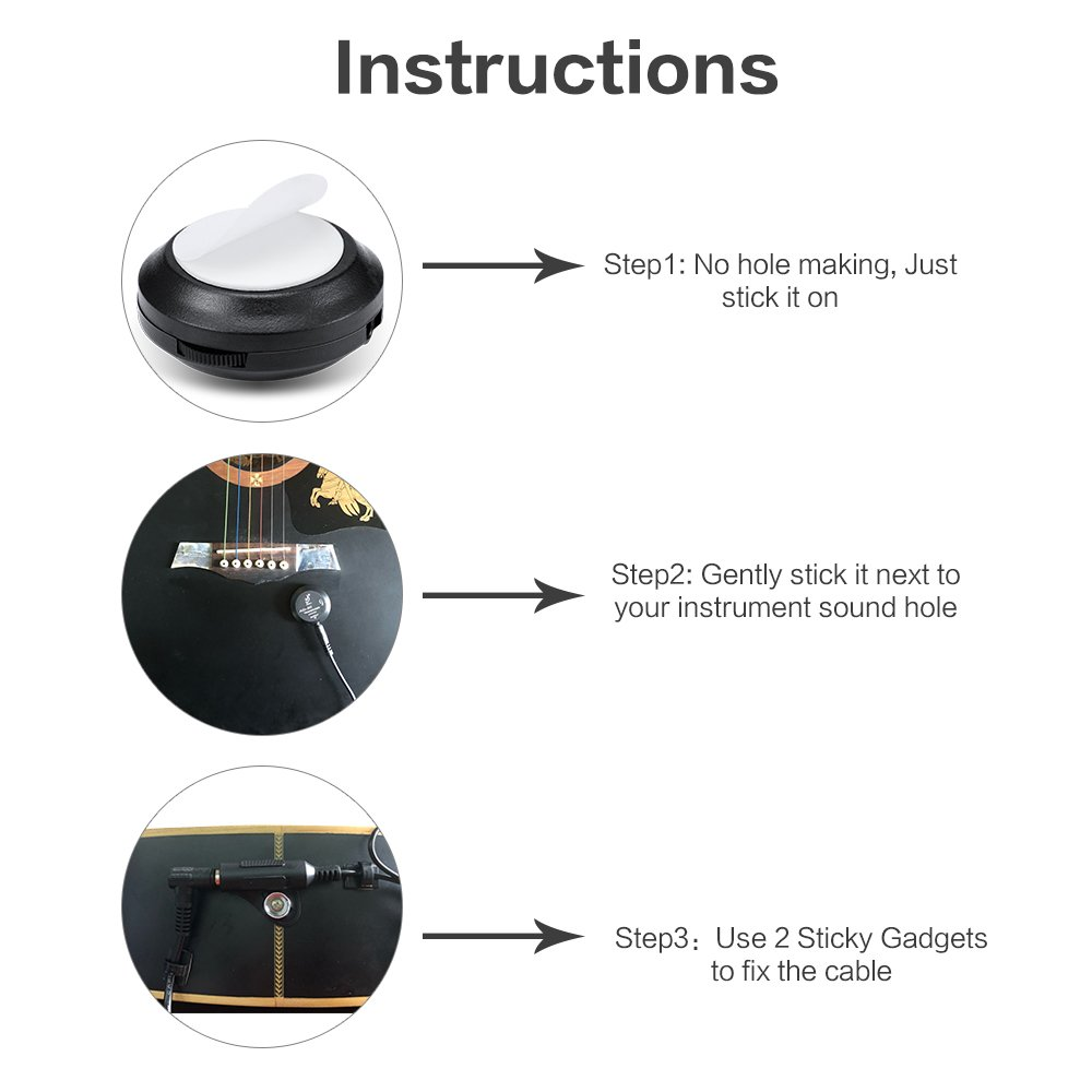 Yimaler Acoustic Guitar Pickup Mini Piezo Contact Axl Wiring Diagram Microphone Transducer Easily Amp Up For Ukulele Violin Mandolin Banjo Cello Black Musical