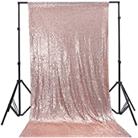 Zdada 10Ft W by 10FT H Sparkly Rose Gold Sequin Backdrop Curtain for Wedding Halloween Thanksgiving Day Christmas