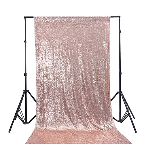 Zdada 4Ft W by 9FT H Sparkly Rose Gold Sequin Backdrop Curtain for Wedding Halloween Thanksgiving Day Christmas