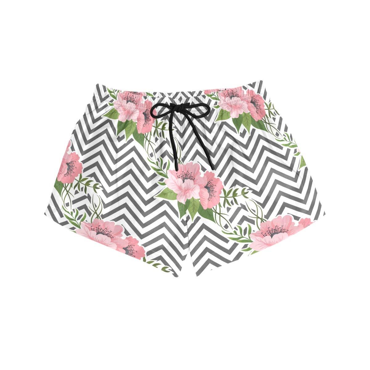CENHOME Women Swim Trunks Pink Flowers Black White Zigzag Stripes Beach Board Shorts