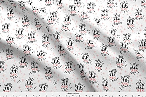 Nursery Fabric Lil' Sis // Pink And Black by Howjoyful Printed on Performance Knit Fabric by the Yard by Spoonflower Sis Custom Fabric