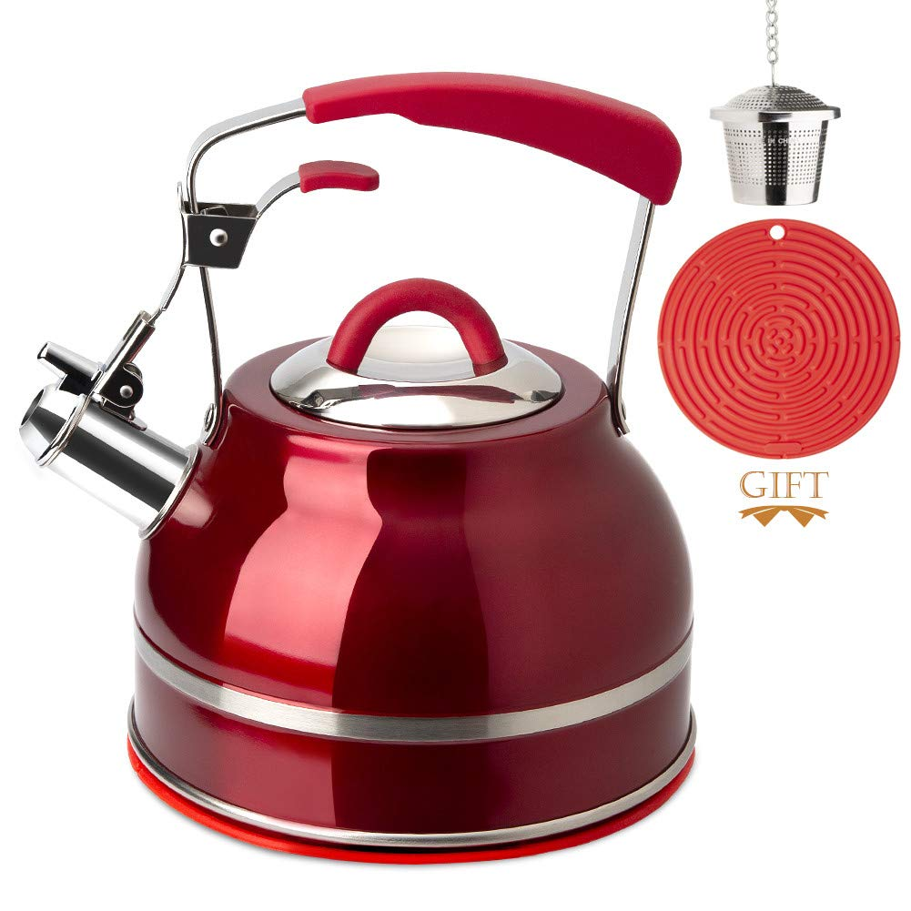 Stainless Steel Hot Water Kettle for Stovetops with Silicone Handle Tea Infuser Blue Secura Whistling Tea Kettle Silicone Trivets Mat 2.3 Qt Tea Pot
