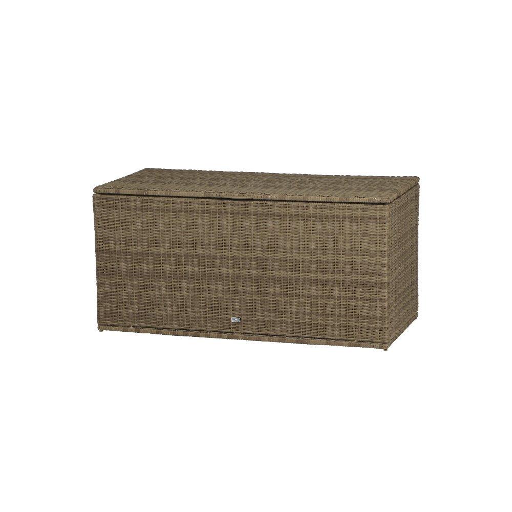 Siena Garden 936806 Universalbox Cadiz, Gardino-Geflecht sand, mit Hydrauliksystem zur Öffnung des Deckels, mit verschließbarer Innentasche,131x61x65cm