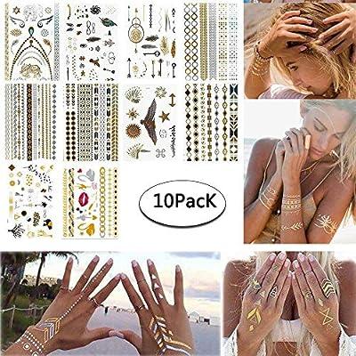 Tatuajes Temporales Niñas Metálico Etiqueta Engomada Del Tatuaje ...