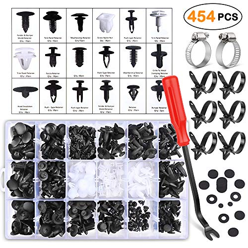 Electop 454 Pcs Car Retainer Clips & Plastic Fasteners Kit- Auto Push Pin Rivets Set with Fastener Remover and Hose Clamps- Door Trim Panel Clips for GM Ford Toyota Honda Chrysler