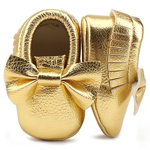 OOSAKU Infant Toddler Baby Soft Sole PU Leather Bowknots Shoes (12-18 Months, Gold 03) (Footwear Soft Leather Gold)
