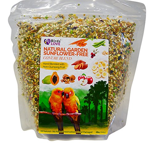 Birds LOVE All Natural Garden Blend Bird Food for Conures-Sunflower Free, Quakers, Jardines, Senegals, Meyers,Sun Conures, Timneh Greys, Amazons, Green Cheek Conures,Resealable Bag All Natural 4 (Natural Parrot Green)