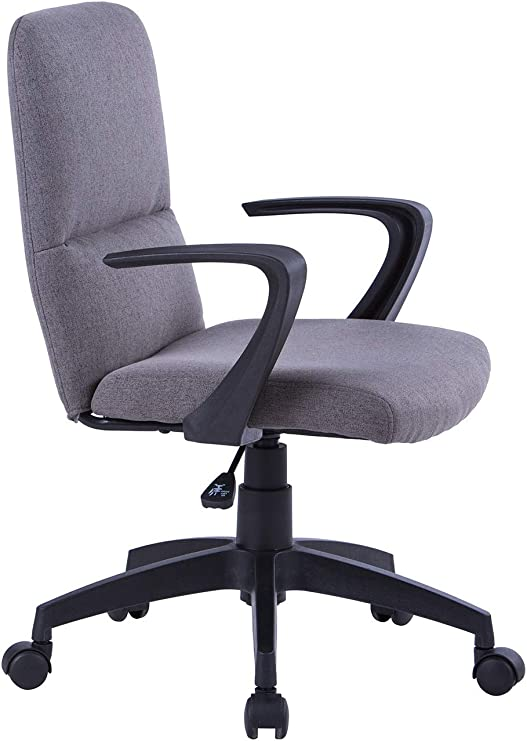 SixBros Bürostuhl Schreibtischstuhl Drehstuhl Stuhl Stoff Grau W-212A//8182