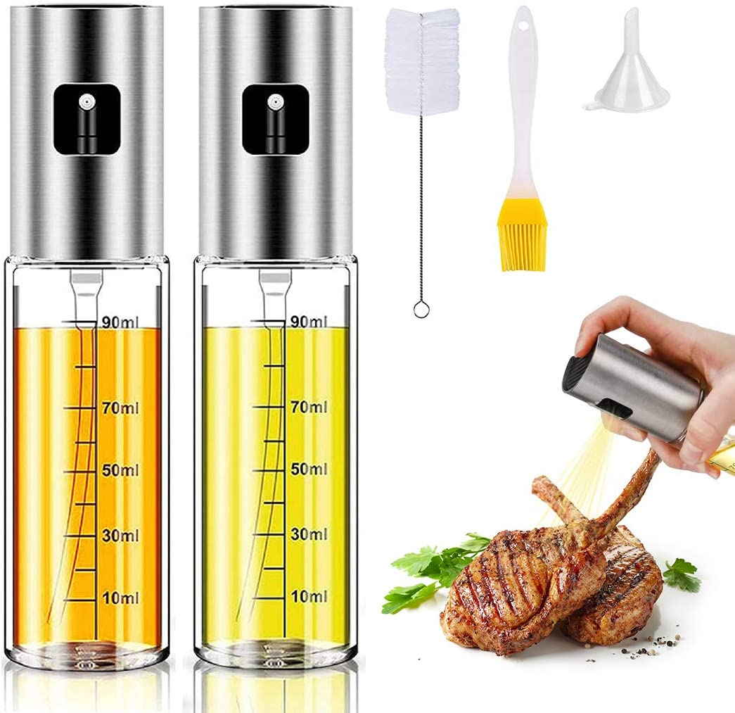 Oil Sprayer for Cooking,Olive Oil Sprayer Dispenser, Stainless Steel Glass Mister Spray Bottle with Measurements for Making Salad/Baking/Frying/BBQ with Free Brush/Funnel 100ml -2pack