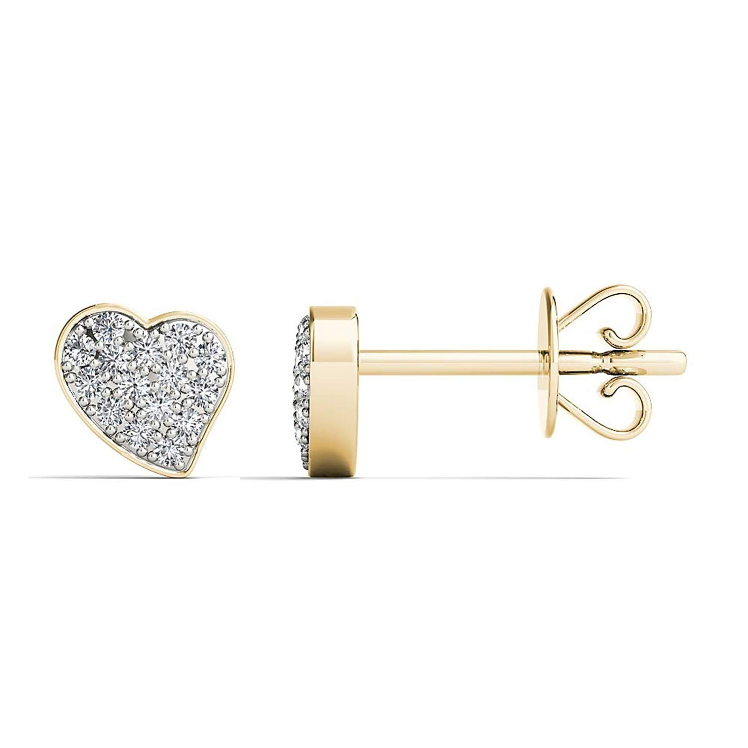 0.10 TCW Round Cut Simulated Diamond Heart Stud Earrings 925 Sterling Silver
