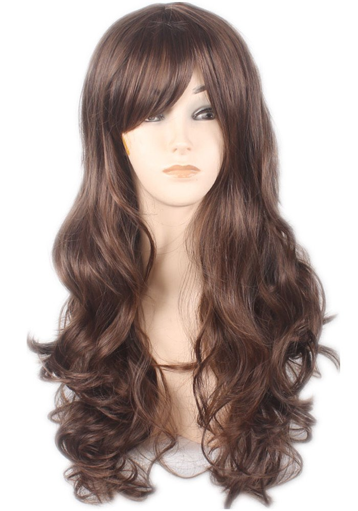AneShe Wig Women's 2 Tones Wine Red Mixed Black Big Wave Synthetic Hair Long Wavy Curly Hair Wigs (Red/Black) HongKong JayShow INC