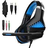 Beexcellent GM-5 Stereo Gaming Headset with Microphone for Mac Nintendo Switch PS4, PC, Xbox One Controller, Noise Cancelling Over Ear Professional Gaming Headphones with Mic, Volume Control ,LED Light, Bass Surround (Blue)