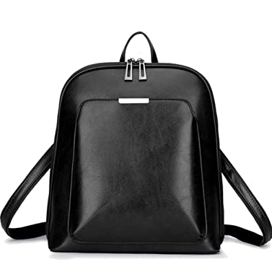 52b70deb9ed2 KUNZITE Women s Retro Leather Backpack Casual Daypack for Ladies and Girls ( black)