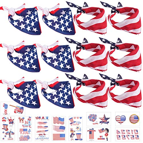 12 Pack American Flag Bandana Bulk Kerchief Headband for Men Women Unisex USA Clothing Cotton Patriotic Accessories with 38pcs Stickers]()