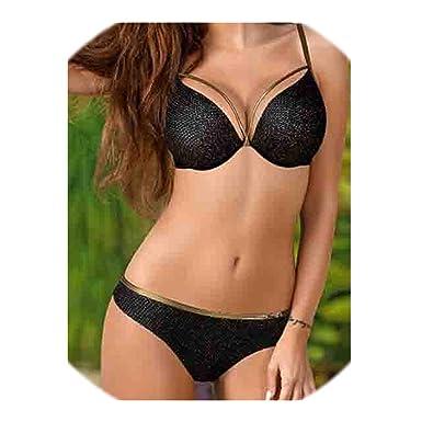 bb8cd7c74ee Amazon.com: 2019 Sexy Bikini Push Up Biquini Set Padded Bra Brazilian 2019  Trend Swimsuit Women Solid Bathing Suit Female Swimwear: Clothing