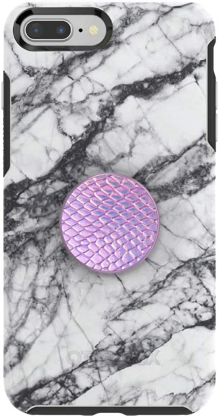 Otter + Pop for iPhone 7+ and 8+: OtterBox Symmetry Series Case with PopSockets Swappable PopTop - White Marble and Iridescent Snake Golden Pink