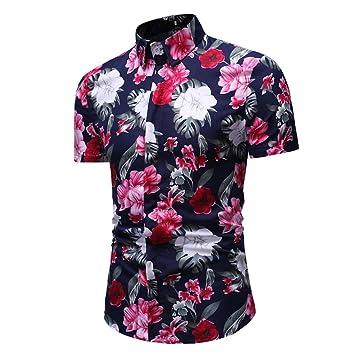 AG&T Hombres Camisa con Estampado Floral Hawaiana botón de la ...