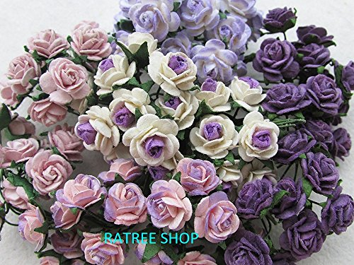 100 pcs mini Rose mixed Purple color Mulberry Paper Flower 10 mm scrapbooking wedding doll house supplies card, Thailand. - Craft Paper Flowers Pack