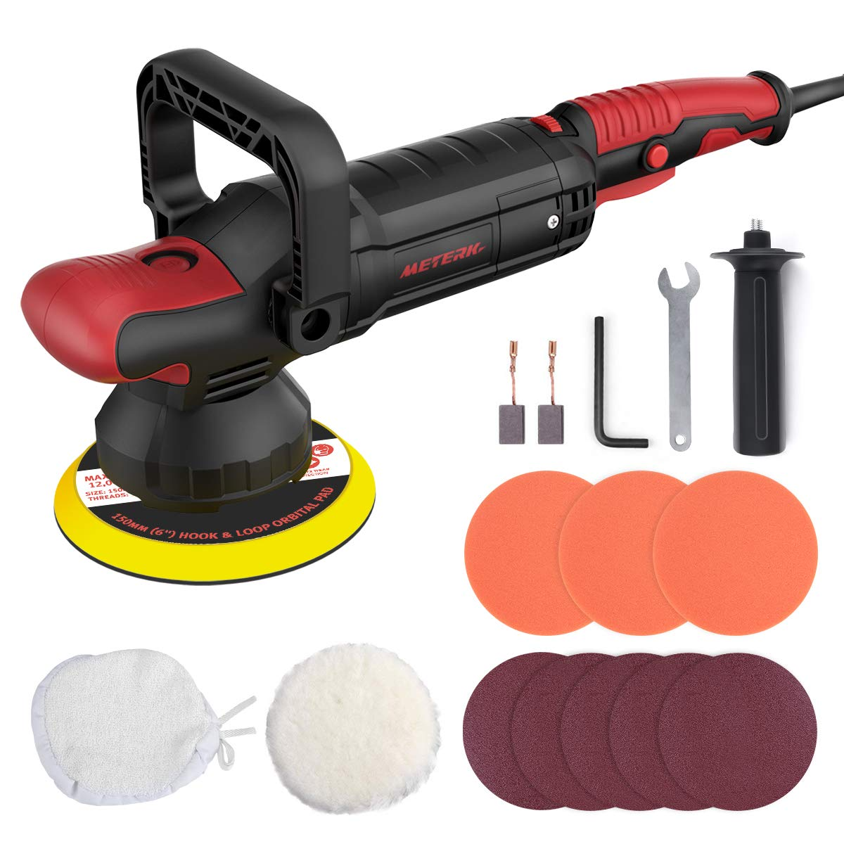 Power Polisher, Meterk Car Buffers Polisher 10.0Amp Polisher Machines 6 Variable Speeds, Lock Switch, Detachable Handle, Soft Start 180MM Base, Ideal For Car Sanding, Polishing, Waxing, Sealing Glaze