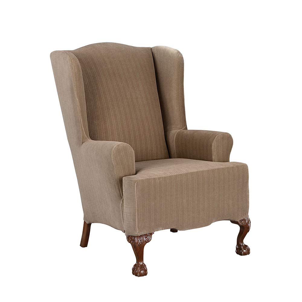 Taupe Wing Chair SureFit Stretch Pinstripe - Wing Chair Slipcover - Taupe