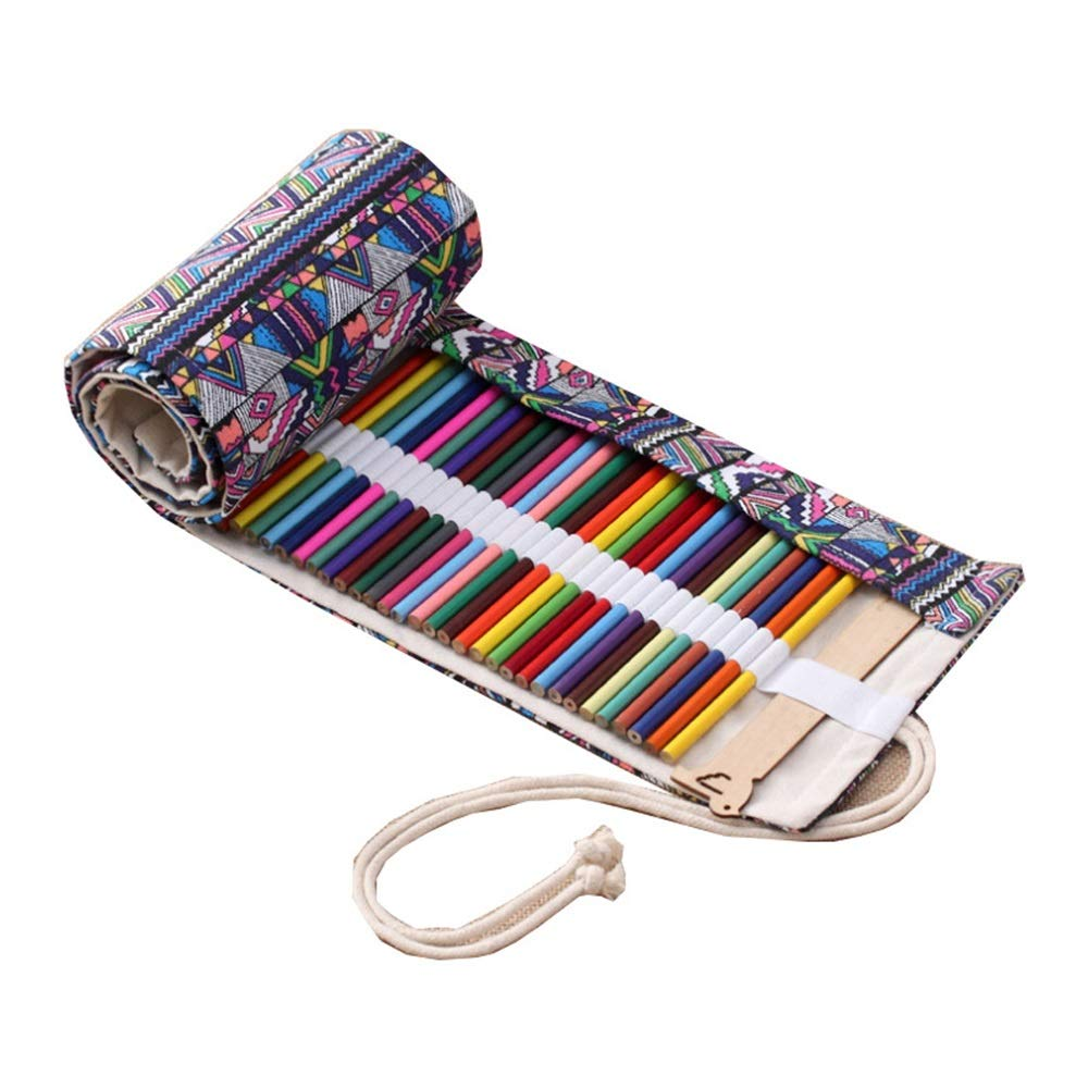 FridCy Canvas Pencil Wrap, Travel Drawing Coloring Pencil Roll Organizer for Artist, Pencils Pouch Case, Pencils are NOT Included Pencil Case (Size : 108 Holes)