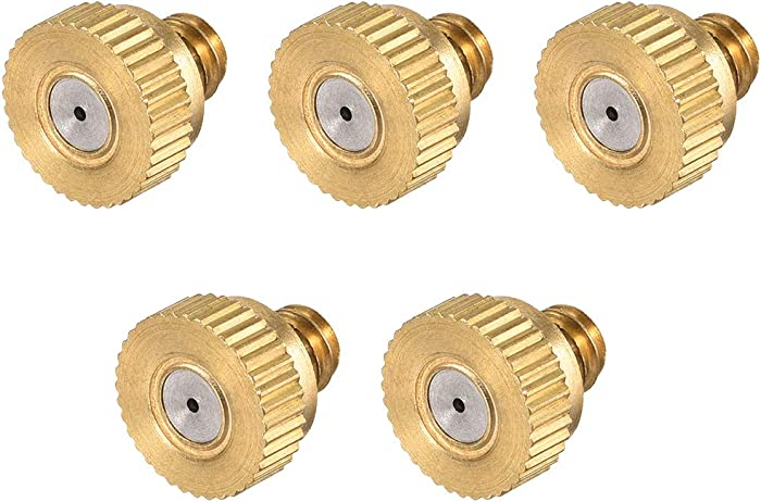 uxcell Brass Misting Nozzle - 10/24 UNC 0.8mm Orifice Dia Replacement Heads for Outdoor Cooling System - 5 Pcs