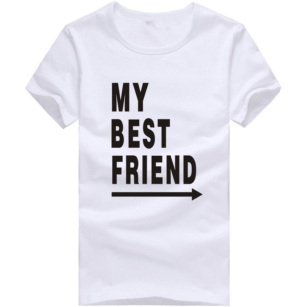 MISYAA Best Friend T Shirts for Men, Letters Muscle Tee Shirt Short Sleeve Sweatshirt Sport Tank Top Pals Gift Mens Tops White