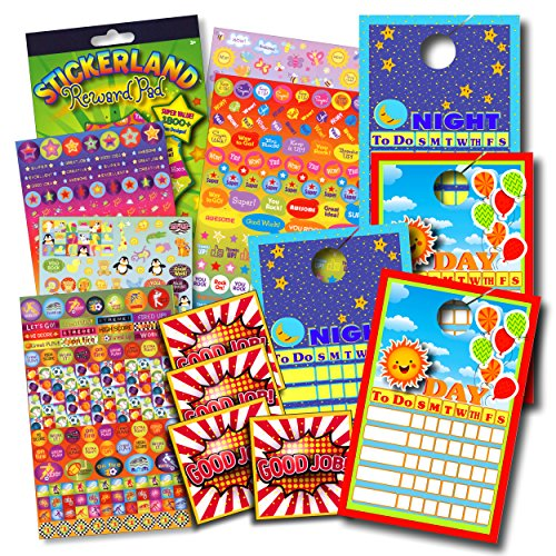 Favorite Character Reward Charts for Kids Bundle with Stickers Kids Toddlers – 2-sided Door Hanger Sticker Charts with Reward Stickers Motivational Stickers (Green Reward Sticker Pad)