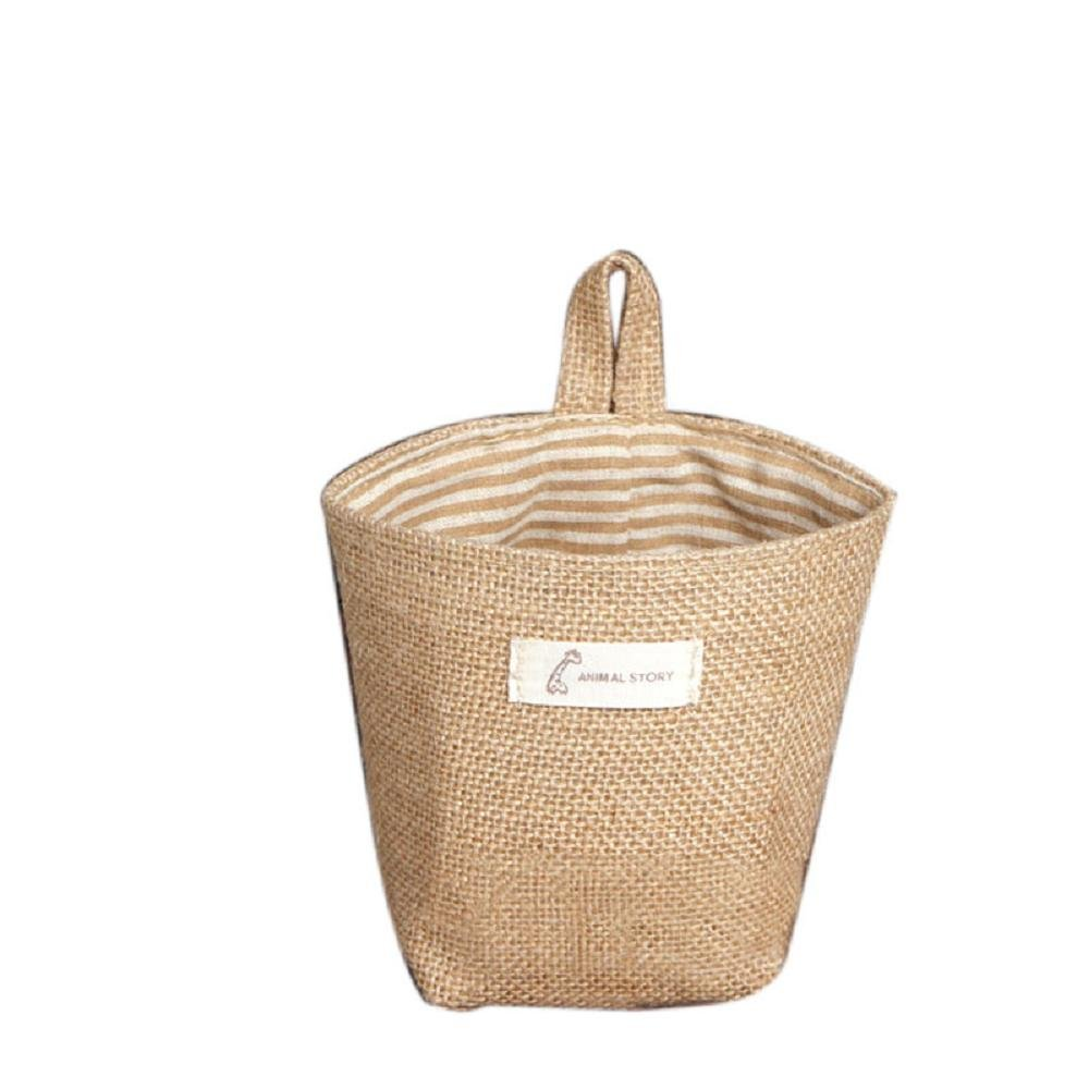 Storage Bag ,IEason Clearance Sale! Stripe Small Storage Sack Cloth Hanging Non Woven Storage Basket Bag (B)