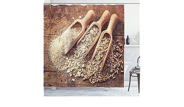 ABAKUHAUS Harina de Avena Cortina de Baño, Semillas Copos de Avena y Salvado, Material Resistente al Agua Durable Estampa Digital, 175 x 200 cm, Brown Brown pálido: Amazon.es: Hogar