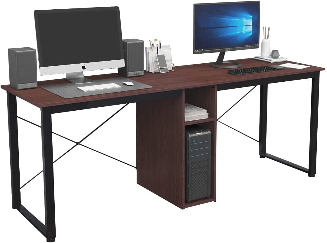 Soges Large Dual Desk 2 Person Workstation Desk Double Computer Desk with Storage Cube Home Office Desk Writing Desk Teens Desk Walnut LD-H01WA