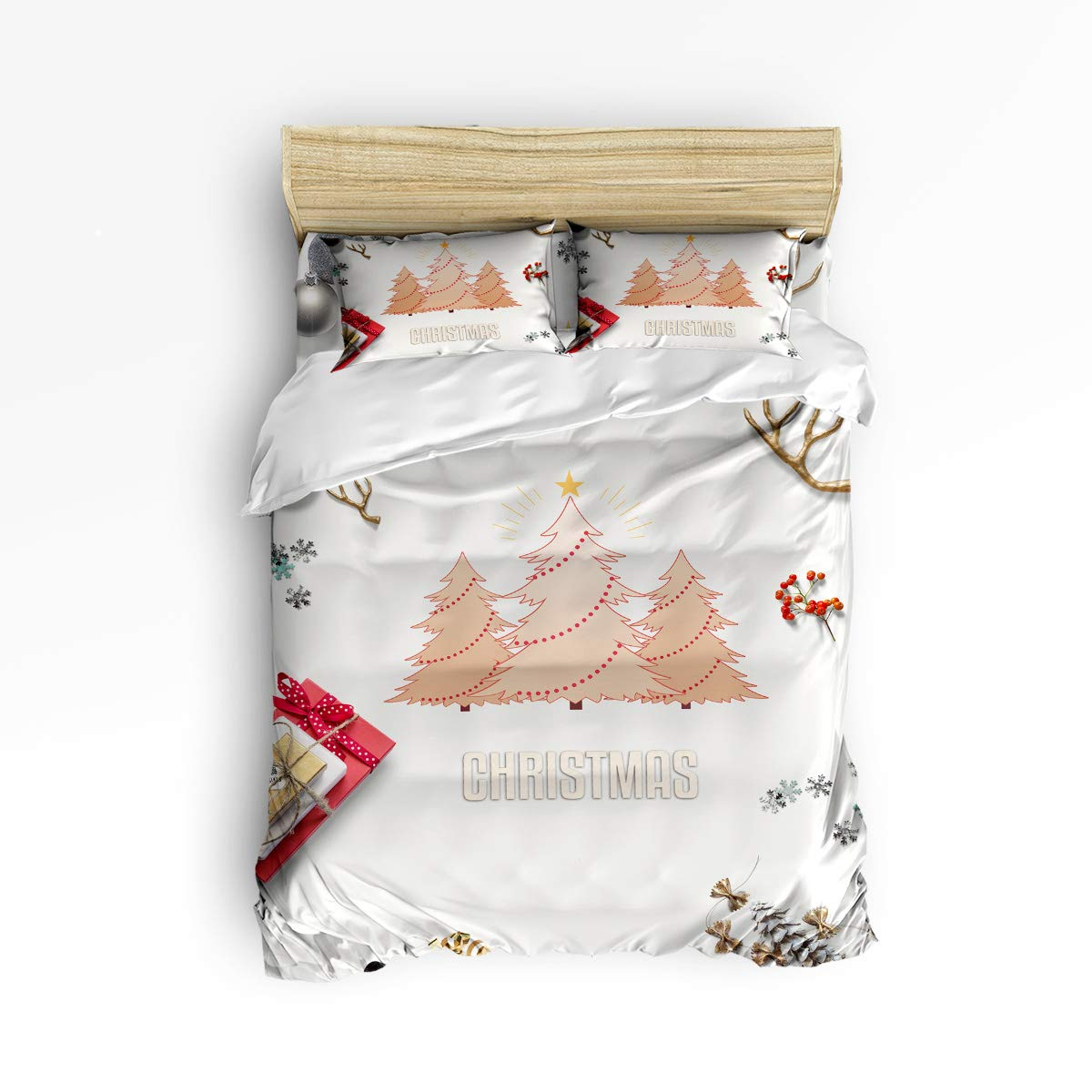BABE MAPS 掛け布団カバーセット メリークリスマステーマ かわいい漫画柄 ウルトラソフト 通気性 非常に丈夫なツイルフラシ天 4点セット 子供/キッズ/ティーン/大人用 Queen Size LTT20181125BMSJTBCSSWTQ01202SJTCBMS B07KVD6XBZ Christmas Treebms8577 Queen Size