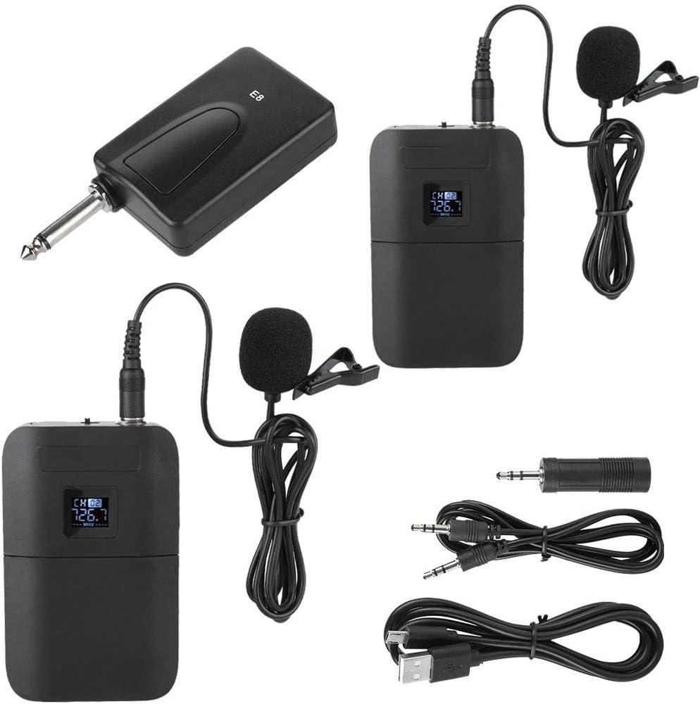 Topiky Micrófono con Clip de Solapa, micrófono inalámbrico portátil con Clip de Solapa VHF Micrófono con Pantalla LED con 1 Receptor 2 transmisor