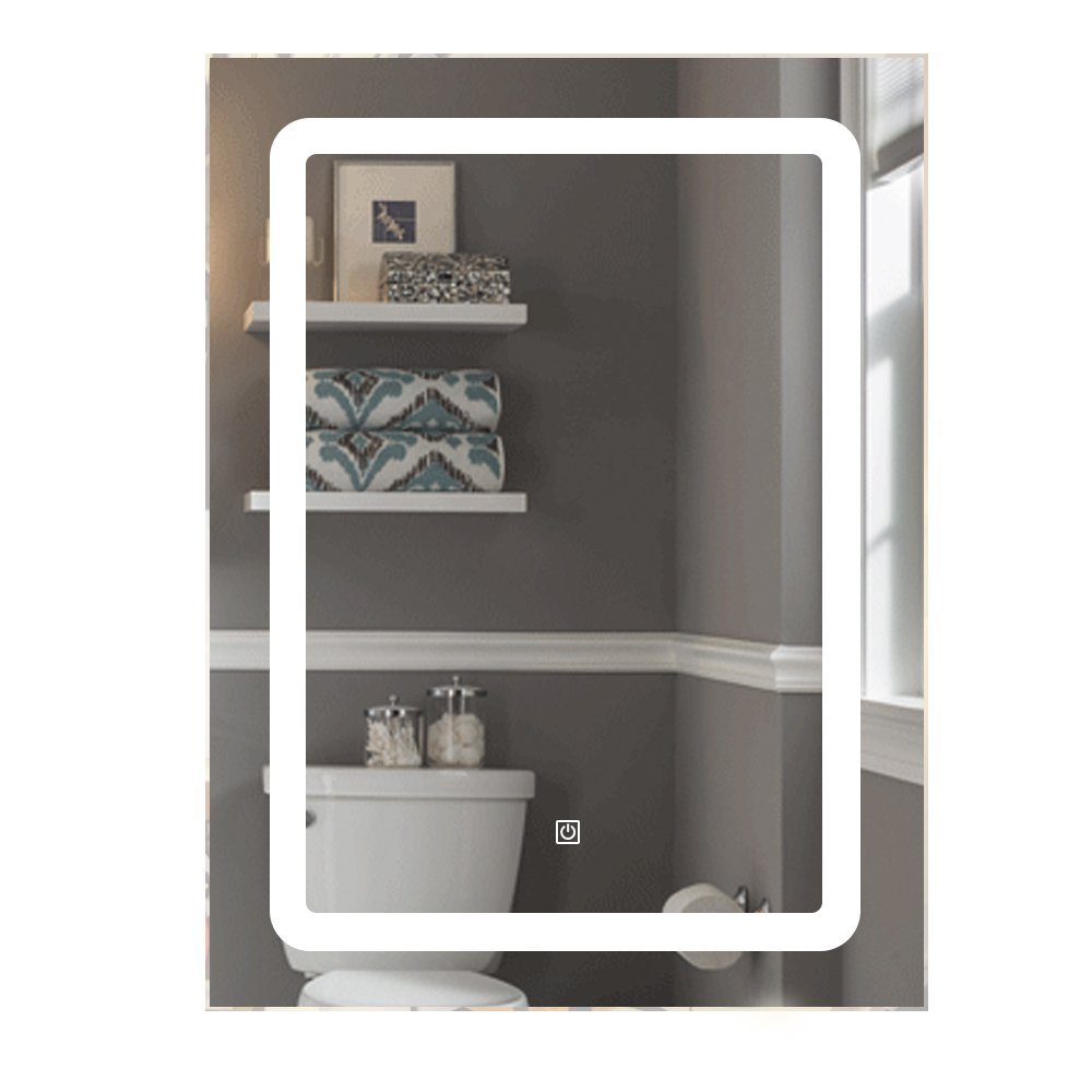 QIERAO W24'' x H32'' Vertical LED Wall Mounted Lighted Vanity Bathroom Silvered Mirror with Touch Button