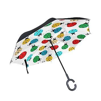 BENNIGIRY Ladybug - Paraguas Plegable, Doble Capa, Doble Capa, para Exterior, Lluvia