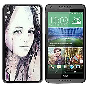 iKiki Tech / Estuche rígido - Girl Watercolor Painting Art Black - HTC DESIRE 816