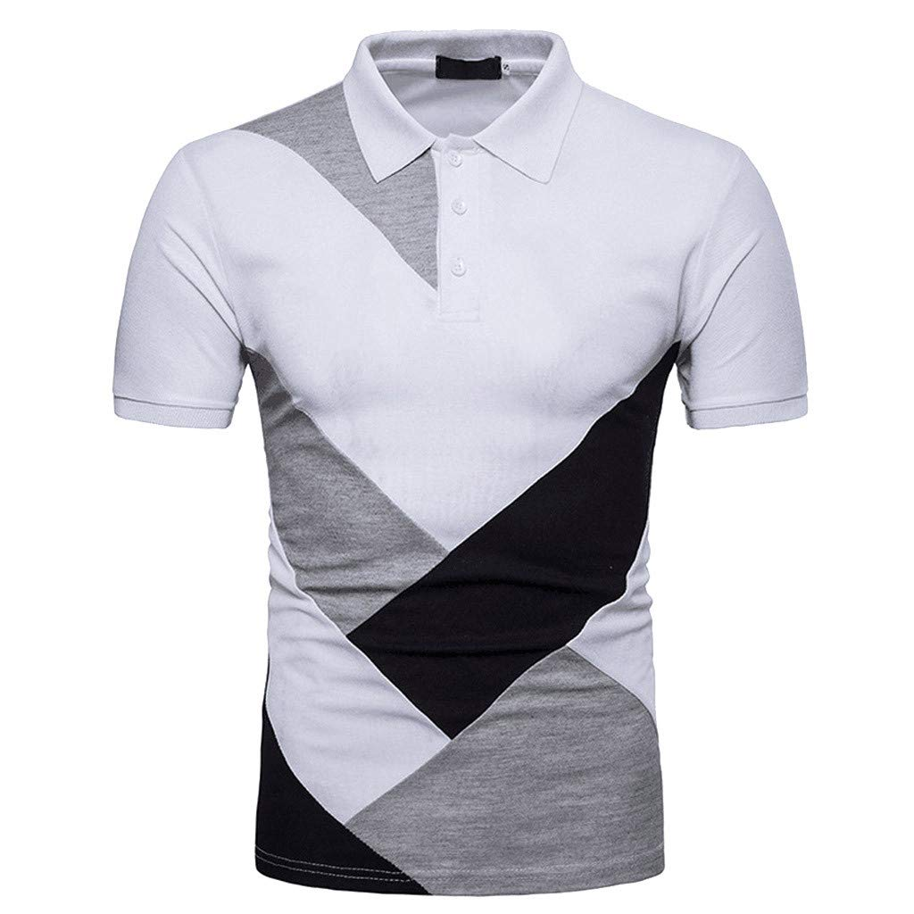 Vickyleb Mens Polo Shirts Short Sleeve Tops Casual Patchwork Pocket Shirt Male Splicing Slim Fits T-Shirts (S3, 2XL) by Vickyleb Summer Shirts