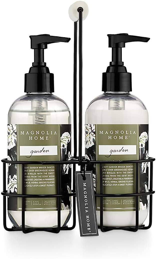 Magnolia Home Fragrance Garden Scent 8 Ounce Hand Wash and Lotion Sink Caddy Set