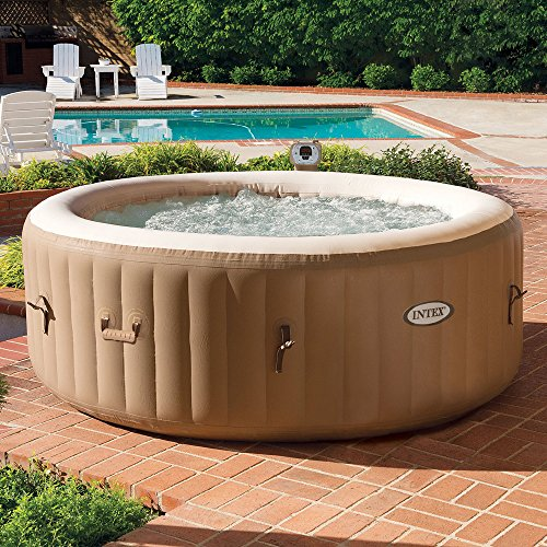 Intex PureSpa Bubble Massage 4-Person Portable Hot Tub, Round, 77