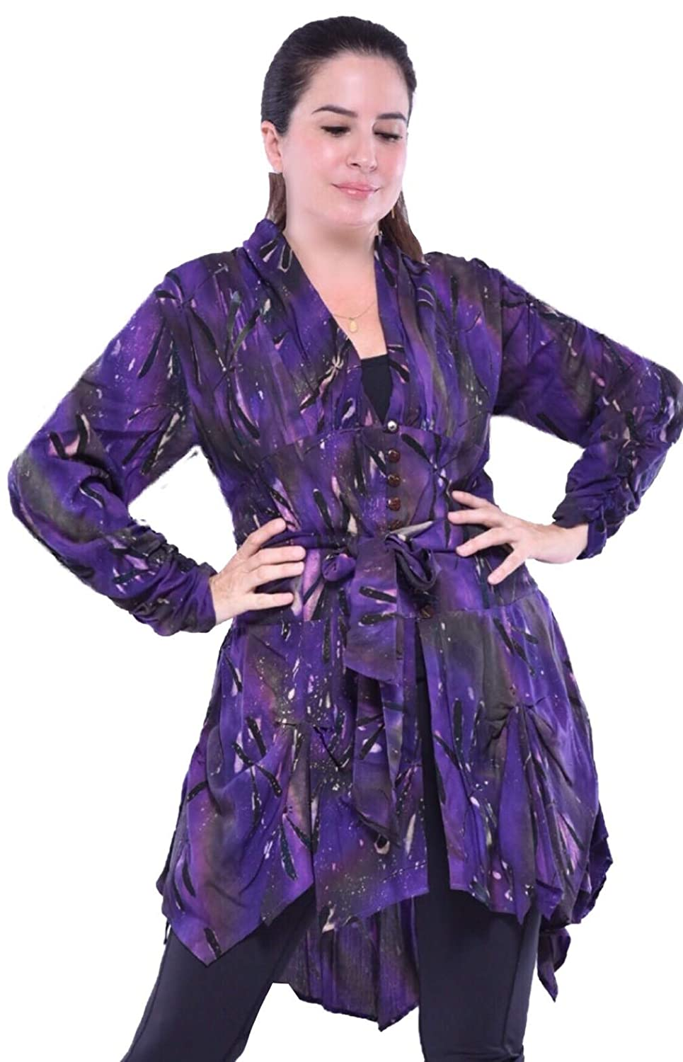 Dark Purple LOTUSTRADERS Fashion Jacket Blouse Button Down Tie Belt Batik Hippy Z363