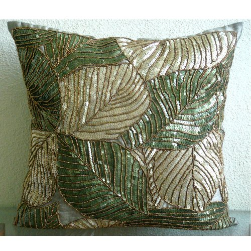 Handmade Olive Green Throw Pillows Cover, Sequins and Beaded
