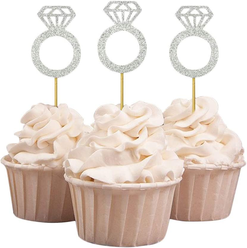 Darling Souvenir, Wedding Engagement Ring Cupcake Toppers, Party Dessert Decorations - Pack Of 20