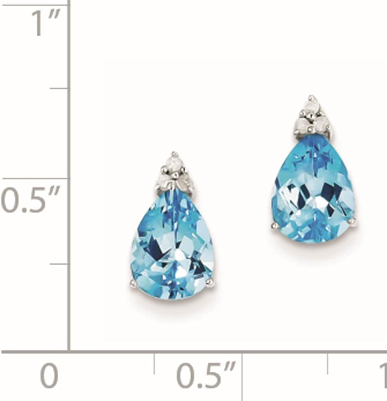 925 Sterling Silver Rhodium-plated Blue Topaz /& Diamond Teardrop Post Earrings