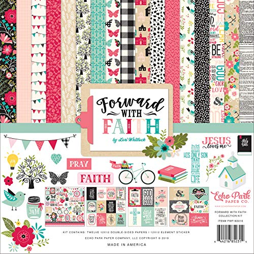 Echo Park Paper Company FWF183016 Forward with Faith Collection Kit Paper, Pink, Green, Teal, Black, tan from Echo Park Paper Company