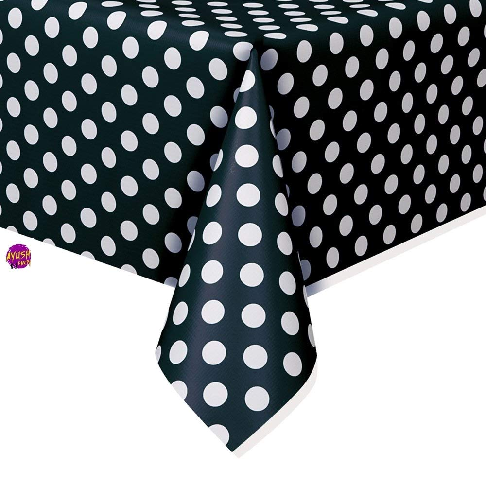 Ayush party Plastic Red Polka Dot Tablecloth 9ft x 4.5ft