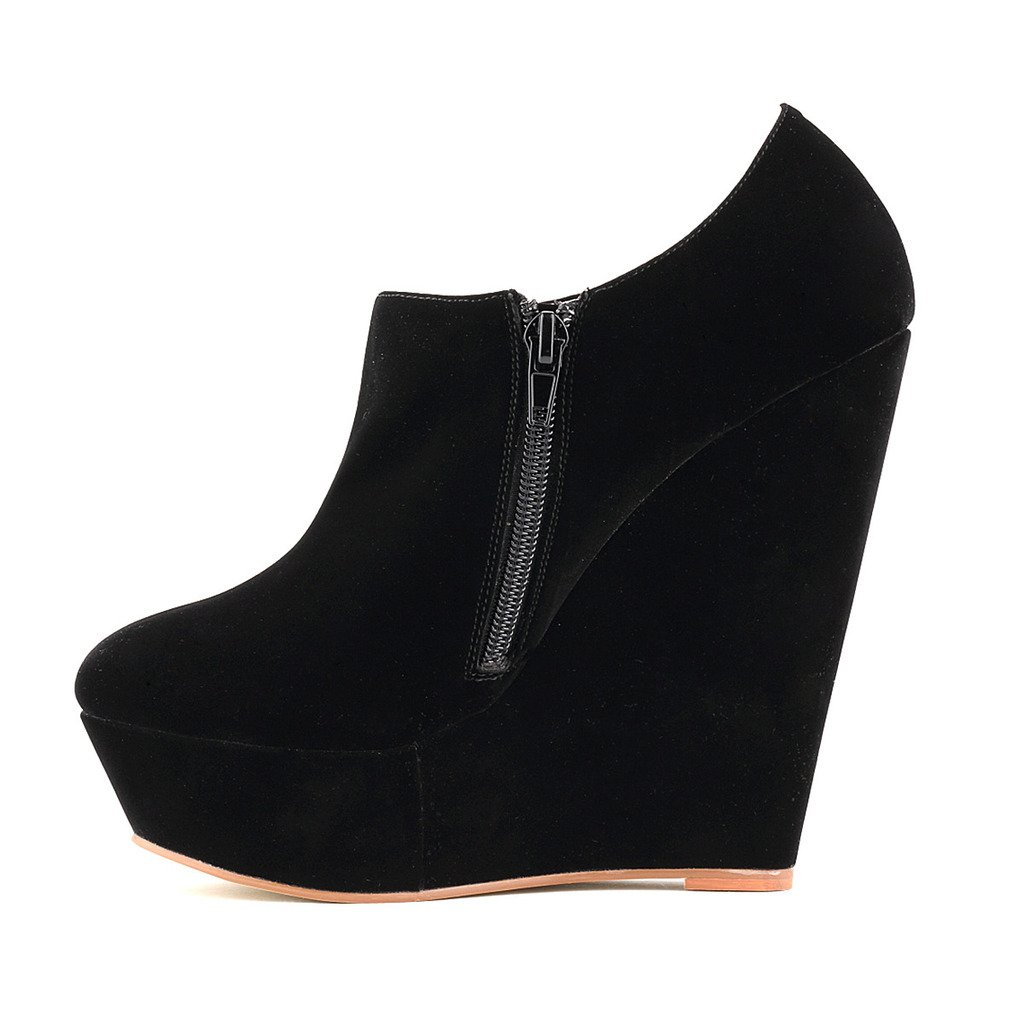 ZriEy Women's Faux Suede Wedge High Heel Fashion Boot Booties Velvet Black Size 5