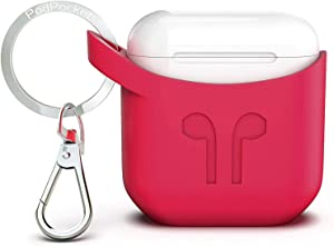 PodPocket Scoop AirPod Storage Case with Protective Translucent Silicone and Impact Protection Rosso Red