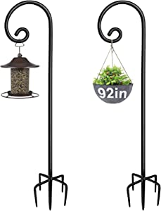 Artigarden Outdoor Shepherd Hooks 92 inch Tall for Bird Feeder (2 Packs), Adjustable Metal Garden Poles for Hanging Plants Solar Light Lantern, Bright Black