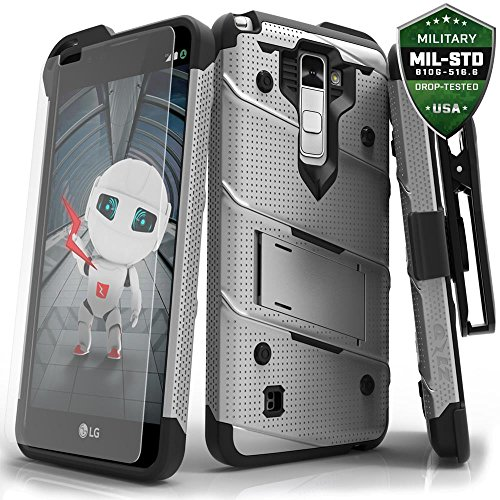 Zizo Bolt Series Compatible with LG Stylo 2 Plus Case Military Grade Drop Tested with Tempered Glass Screen Protector, Holster Gray Black